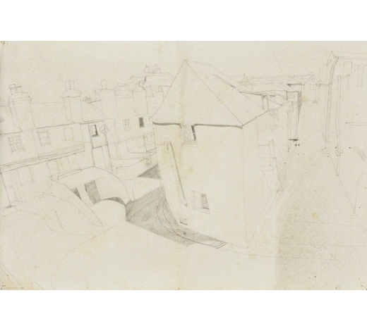 RoseberysBryan Ingham, British 1936-1997-  St Ives from Porthmeor Workshops, 1970;  pencil and ink on paper, inscribed and dated to the reverse, 52x69cm (unframed)(ARR)