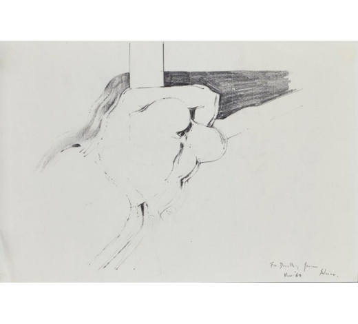 RoseberysAdrian Heath, British 1920-1992-  Sketch of a reclining figure, 1969;  pencil on laid paper, dedicated 'for Dorothy from Adrian, Nov. 69', 30.5x45.5cm (unframed)(ARR)  Provenance: purchased from the Modern British Gallery by the present owner