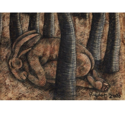 RoseberysSophie Ryder, British b. 1963-  Sleeping Lady-Hare in a Forest, 2004;  charcoal on paper, signed and dated, 40x57cm (unframed)(ARR)