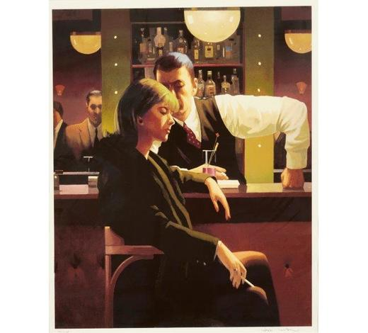RoseberysJack Vettriano,  Scottish b.1951-   Cocktails & Broken Hearts, 2003;  screenprint in colours on wove, signed and numbered 151/275 in pencil, plate 69.5x56cm (ARR)