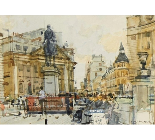 RoseberysKen Howard OBE RA, British b.1932-   Royal Exchange, 1982;   watercolour on laid, signed and dated, 16.5 x 23.2cm (ARR)   Provenance: commissioned by the present owner and exhibited at The Pennybank Gallery, St. John's Square, London in the show 'Artist's View of the City' from the 6-10 December 1982.
