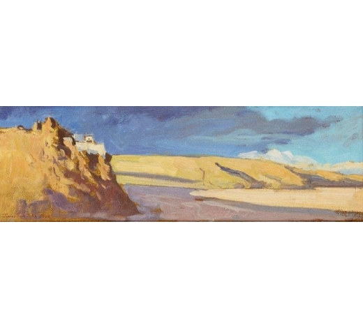 RoseberysJames Hart Dyke, British b. 1966-  Chiu Gompa on Lake Mansarovar, Tibet, 2002;  oil on canvas, signed and dated, 14x44cm (ARR)  Provenance: with Tom Bell Fine Art, Troon, Ayrshire, according to the label attached to the reverse
