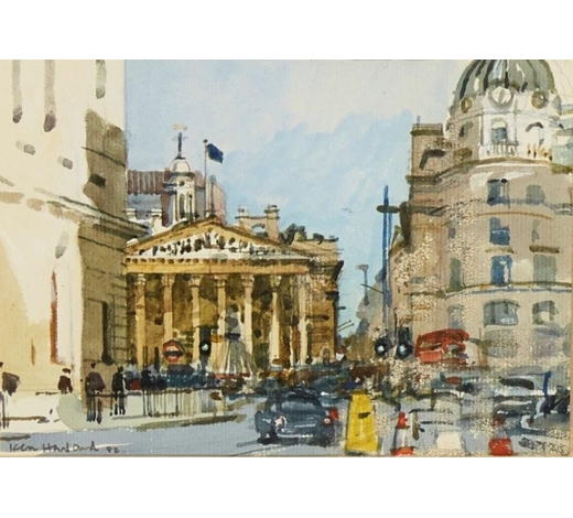 RoseberysKen Howard OBE RA, British b.1932-   Royal Exchange from Bank Station, 1982;   watercolour on laid, signed and dated, 14 x 20.5cm (ARR)  Provenance: commissioned by the present owner and exhibited at The Pennybank Gallery, St. John's Square, London in the show 'Artist's View of the City' from the 6-10 December 1982.