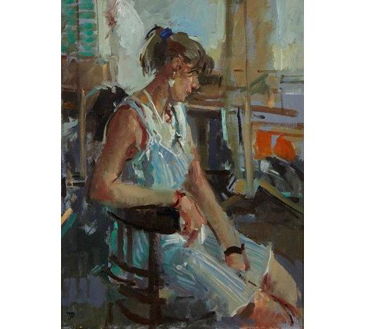 RoseberysThomas John Coates,  British b.1941-   Model at the New Art Centre;   oil on canvas board, signed with monogram, 38.5 x 29cm (ARR)  Provenance: purchased from Jonathan Thorpe Art Consultants in 1990
