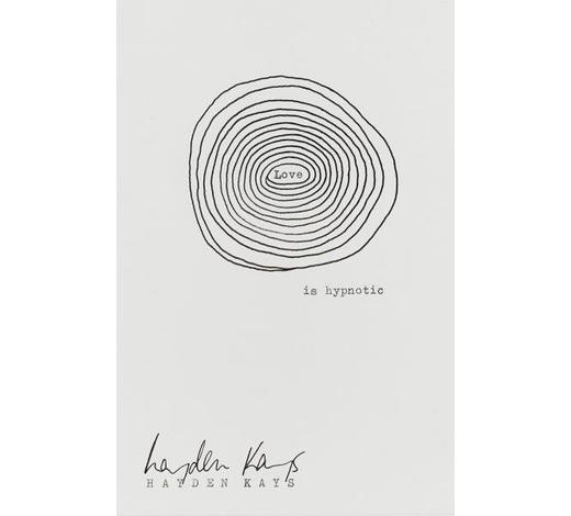 RoseberysHayden Kays,  British b. 1985-   Love is Hypnotic, 2010;   printed and hand drawn black ink on paper, signed, 16x10cm (ARR)   Note: the artist has kindly confirmed the authenticity of this work