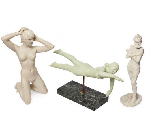 RoseberysJohn Bonar Dunlop ARBS, New Zealander/British 1916-1992-  Old man with arms crossed, Kneeling woman, and Swimmer;  three sculptures made of plaster, marble resin, and painted plaster with marble base respectively, 22x8x6cm, 23x15.5x12cm, and 17x12x29cm respectively, (3)(ARR)  Provenance: the artist's estate