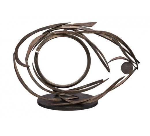 RoseberysLee Tribe, British/American b. 1945-  Eve's Eye, 1981;  steel with a wooden base, 64x105x35cm (ARR)  Provenance: purchased by the previous owners from Madeleine Carter Fine Art, Boston, USA in the 1980s Note: the artist has kindly confirmed authenticity of this work