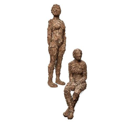 RoseberysAnna Gillespie, British b. 1964-  Standing and Seated Forms from 'The Gathering Project' series, 2007;  tree bark and plaster, two, each signed and dated, 102x26x16cm and 75x43x22cm respectively (ARR)  Note: the artist has kindly confirmed the authenticity of this work.