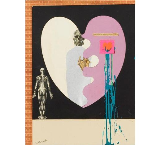 RoseberysLaurence Burt,  British 1925-2015-   Heart, 1967;   mixed media on paper, signed and dated in black ink, 38 x 30.5cm, (ARR)   Provenance: with Flowers Gallery, London.