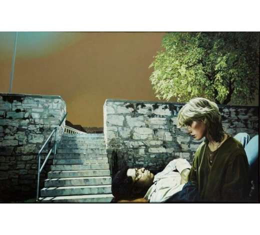 RoseberysBoyd & Evans, British b. 1944/1945-  The Steps?Tale, 1986;  acrylic on canvas, signed and dated, 120x182cm (ARR) (VAT charged on hammer price) Provenance: with Flowers Gallery, London