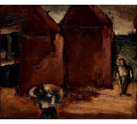 RoseberysJosef Herman OBE RA,  Polish/British 1911-2000-   Carrying The Sack, c. 1965;  oil on board, bears partial label with inscribed title and artist's name on the reverse, 25x30cm (ARR)(VAT charge on hammer price)  Provenance: with Flowers Gallery, London