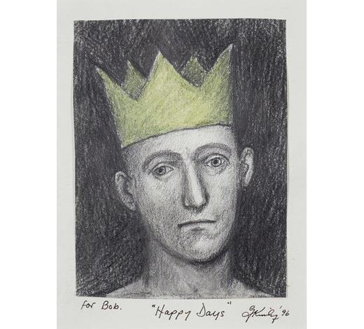 RoseberysJohn Kirby, British b.1949-  Happy Days (For Bob), 1996;  pencil and crayon on paper, signed and dated, 17.5x13.5cm (ARR)  Note: The work bears a further inscription written by the artist on the reverse reading; 'A man grows older, Embracing many changes, Happy Birthday Bob! best wishes John (Kirby)'.  Provenance: with Flowers Gallery, London