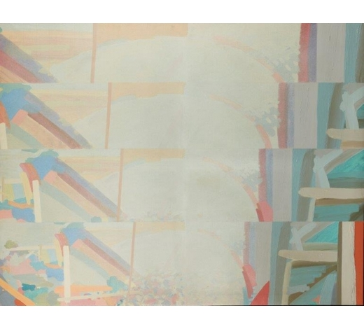 RoseberysJohn Loker,  British b.1938-   Horizontal Shifts 3, 1981;   oil and acrylic on canvas, signed, titled and dated on the reverse of the stretcher, 173 x 221.5cm, (ARR) (VAT charged on hammer price) Provenance: with Flowers Gallery, London