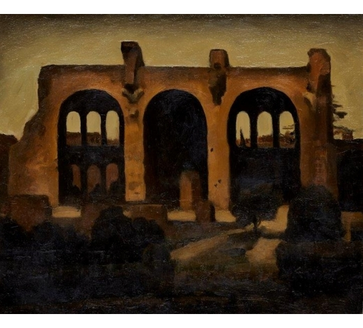 RoseberysRenny Tait, Scottish b.1965-  Basilica of Maxentius, 1992;  oil on board, signed, dated and titled on the reverse, 25x30cm, (ARR) Provenance: with Flowers Gallery, London