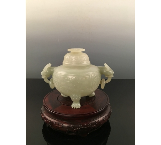 Fox Wood Auctioneer IncChinese Jade Censer With Qian Long Mark