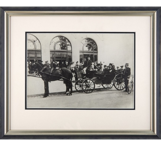 DreweattsMuzzafer ad-Din Shah Qajar in a Horse-Drawn Carriage, reprinted black and white photograph, taken on