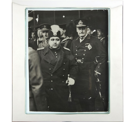 DreweattsAhmad Shah Qajar in London, pictured here with Lord Waldren, original press photograph [London, date