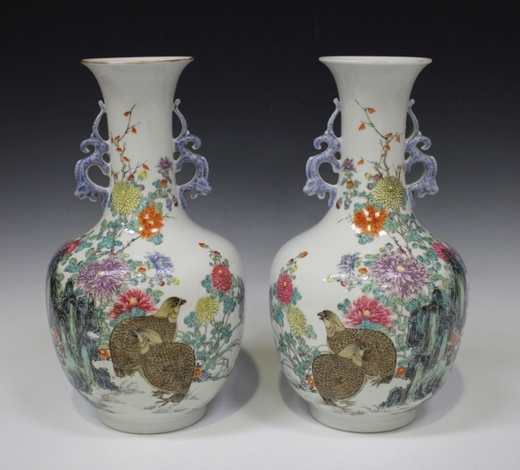 TooveysA pair of Chinese famille rose vases