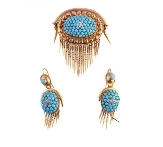 DreweattsA Victorian gold, turquoise and diamond brooch and earring suite