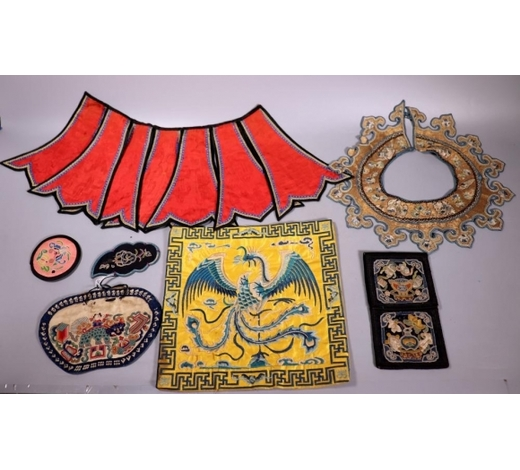 Eddie's Auction7 Antique Chinese Embroideries Gold Collar Pockets