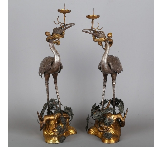 MAVENCHINESE GILT BRONZE CLOISONNE CRANE CANDLE STANDS