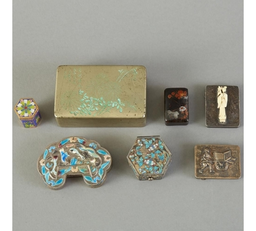 Revere AuctionsGroup of 7 Chinese Enameled Pill or Snuff Boxes Some Silver