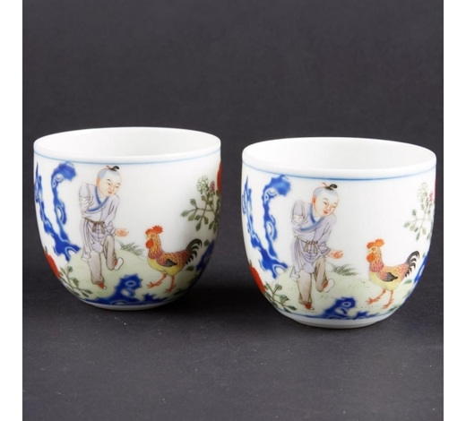 Revere AuctionsPair of Chinese Famille Rose Cups with Boy and Chickens