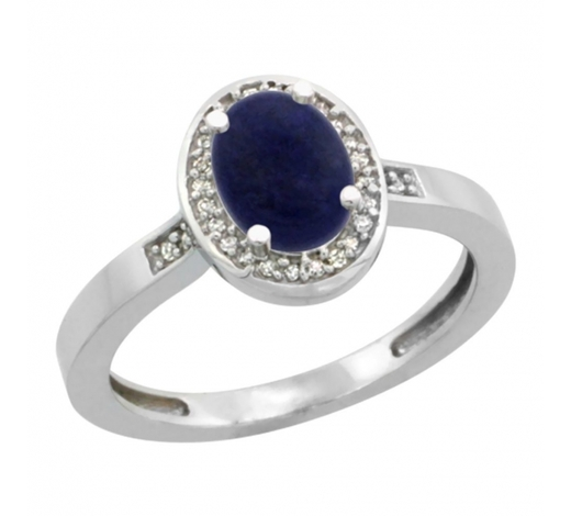 World Jewelry AuctionsNatural 0.83 ctw Lapis & Diamond Engagement Ring 14K White Gold - REF-30M2H