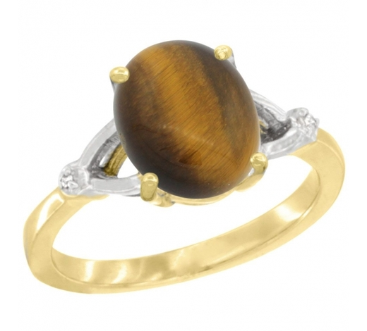 World Jewelry AuctionsNatural 2.31 ctw Tiger-eye & Diamond Engagement Ring 10K Yellow Gold - REF-22Y3X