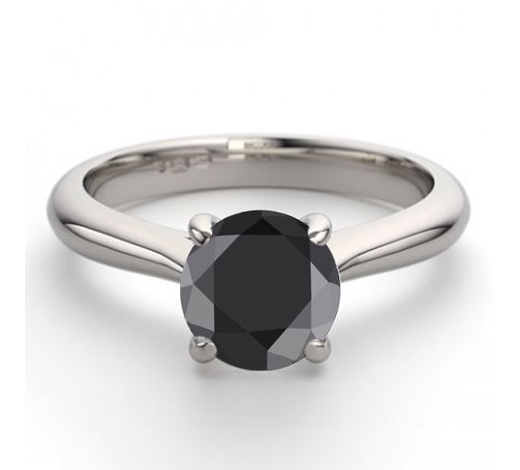 World Jewelry Auctions14K White Gold 1.02 ctw Black Diamond Solitaire Ring - REF-63N5W-WJ13227