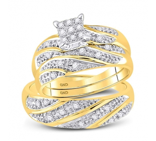 World Jewelry Auctions0.25 CTW His & Hers Diamond Cluster Matching Bridal Ring 14KT Yellow Gold - REF-44Y9X
