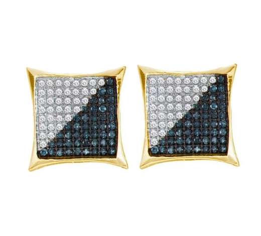 World Jewelry Auctions0.11 CTW Mens Blue Color Diamond Square Kite Cluster Earrings 10KT Yellow Gold - REF-8Y9X