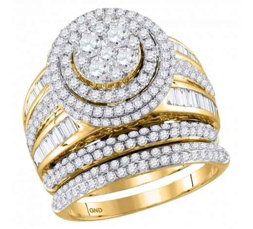 World Jewelry Auctions2.46 CTW Diamond Cluster Bridal Engagement Ring 14KT Yellow Gold - REF-251X9Y