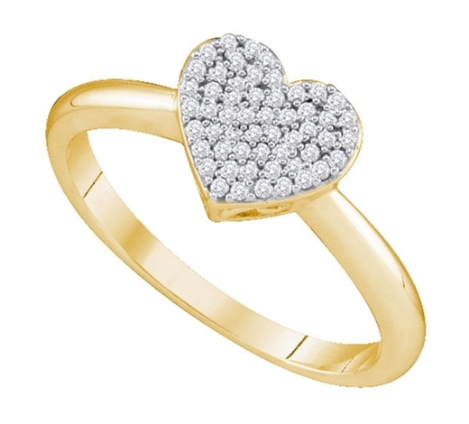 World Jewelry Auctions0.15 CTW Diamond Heart Love Ring 10KT Yellow Gold - REF-18F2N