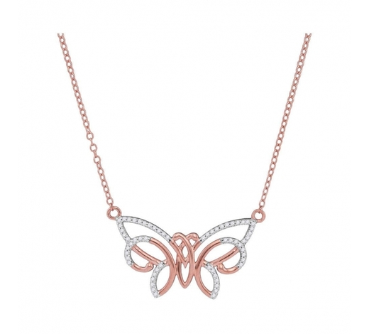 World Jewelry Auctions0.20 CTW Diamond Butterfly Bug Pendant 10KT Rose Gold - REF-20K9W