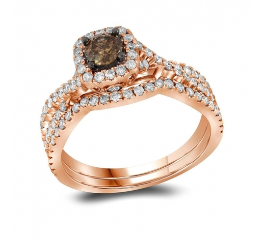 World Jewelry Auctions1 CTW Cognac-brown Diamond Bridal Wedding Engagement Ring 14KT Rose Gold - REF-104H9M