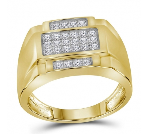 World Jewelry Auctions0.49 CTW Mens Diamond Square Cluster Ring 10KT Yellow Gold - REF-52N4F