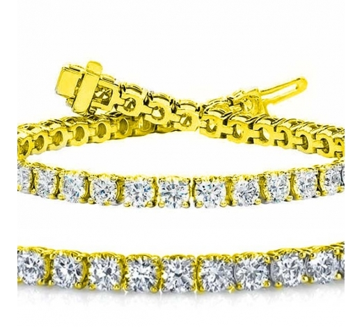 World Jewelry AuctionsNatural 7.03ct VS-SI Diamond Tennis Bracelet 18K Yellow Gold - REF-672W6N
