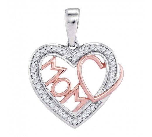 World Jewelry Auctions0.10 CTW Diamond Mom Mother Heart Pendant 10KT Two-tone Gold - REF-13Y4X