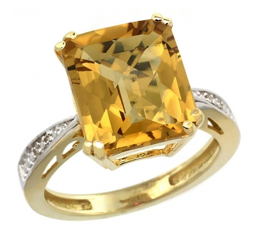 World Jewelry AuctionsNatural 5.42 ctw Whisky-quartz & Diamond Engagement Ring 10K Yellow Gold - REF-55Z5Y