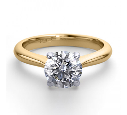 World Jewelry Auctions18K 2Tone Gold 0.83 ctw Natural Diamond Solitaire Ring - REF-223W4K-WJ13249
