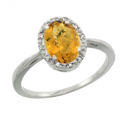 World Jewelry AuctionsNatural 1.22 ctw Whisky-quartz & Diamond Engagement Ring 10K White Gold - REF-19X9A