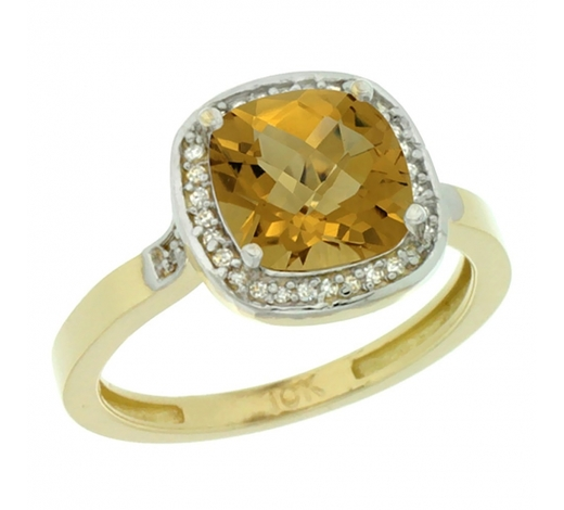 World Jewelry AuctionsNatural 3.94 ctw Whisky-quartz & Diamond Engagement Ring 14K Yellow Gold - REF-36F7N