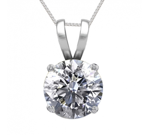 World Jewelry Auctions14K White Gold 0.76 ct Natural Diamond Solitaire Necklace - REF-195N6H-WJ13286