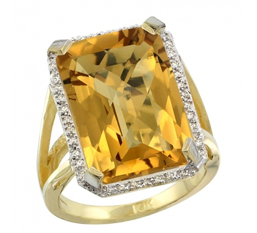 World Jewelry AuctionsNatural 13.72 ctw Whisky-quartz & Diamond Engagement Ring 14K Yellow Gold - REF-73V9F