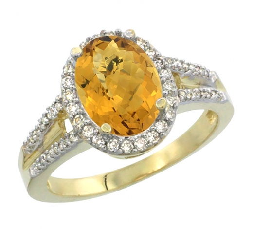 World Jewelry AuctionsNatural 2.72 ctw whisky-quartz & Diamond Engagement Ring 14K Yellow Gold - REF-53G2M