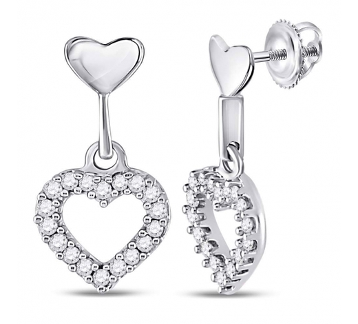 World Jewelry Auctions0.20 CTW Diamond Small Heart Dangle Screwback Earrings 10KT White Gold - REF-18Y2X