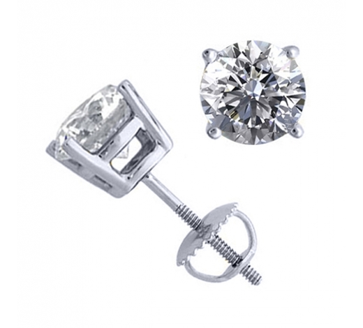 World Jewelry Auctions14K White Gold 2.02 ctw Natural Diamond Stud Earrings - REF-521X4F-WJ13304
