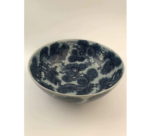 Apex Art & Antiques Auctioneer IncChinese Blue and White Dragon Big Bowl With Kangxi Mark