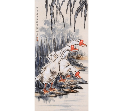 New Castle Art & Antique GalleryCHINESE SCROLL PAINTING OF GEESE BY RIVER
